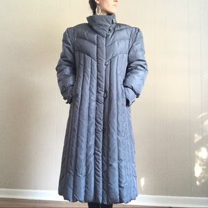 Lord & Taylor Gray Full Length Coat Down Feathers